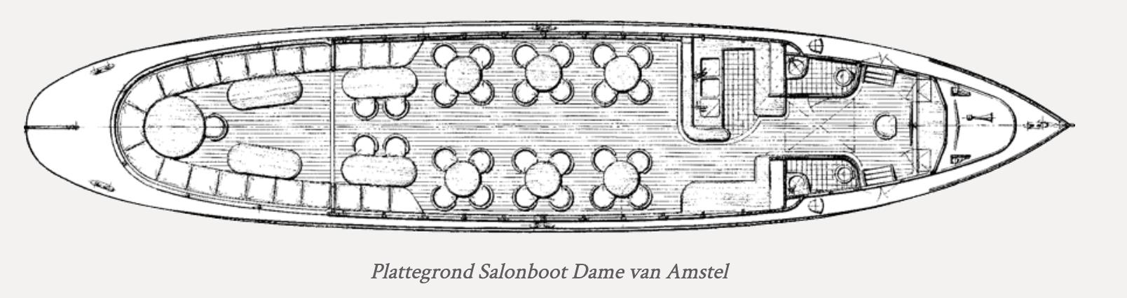 Salonboot Dame van amstel plattegrond